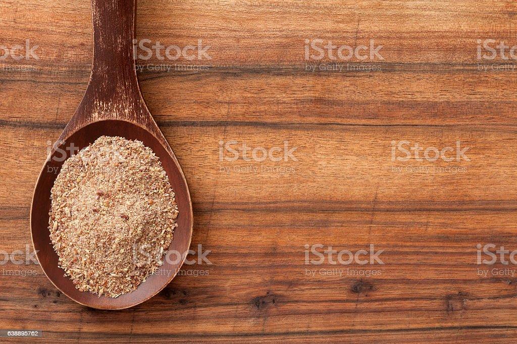 Ground flax seeds stock photo