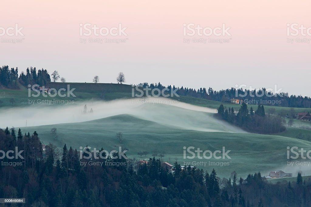 Ground fog, Bodennebel stock photo