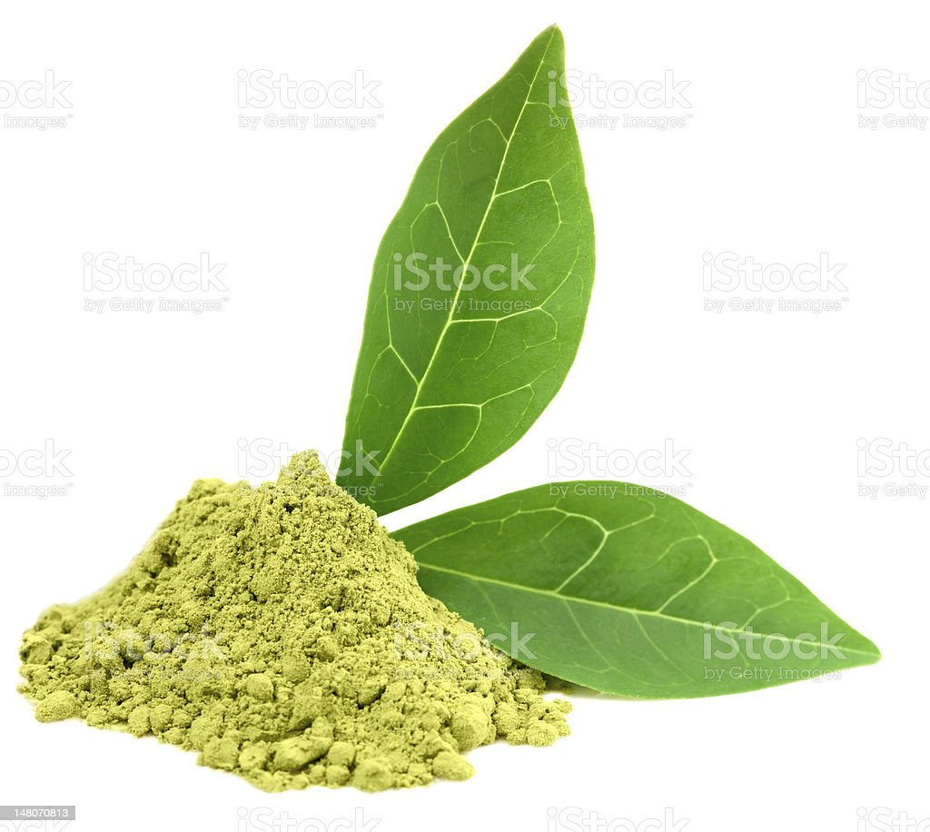Ground green matcha tea with two leaves on white stock photo