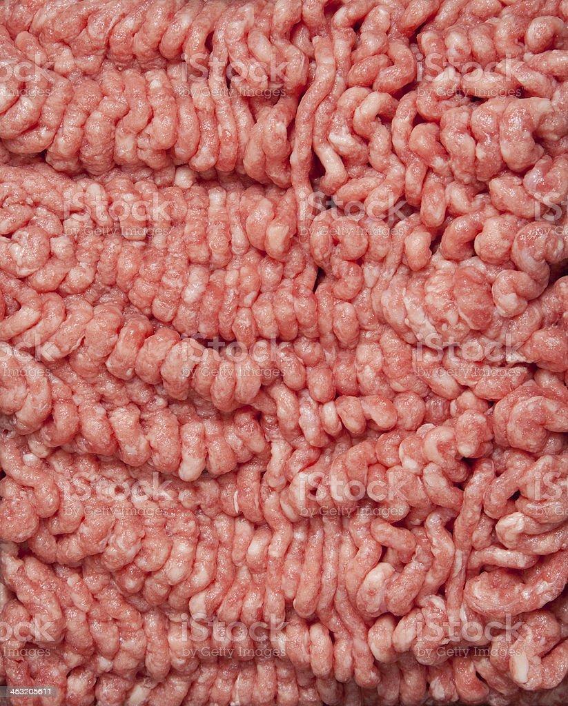 Ground hamburger meat on a white background stock photo