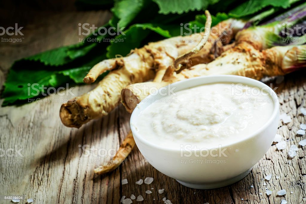 Ground horseradish stock photo