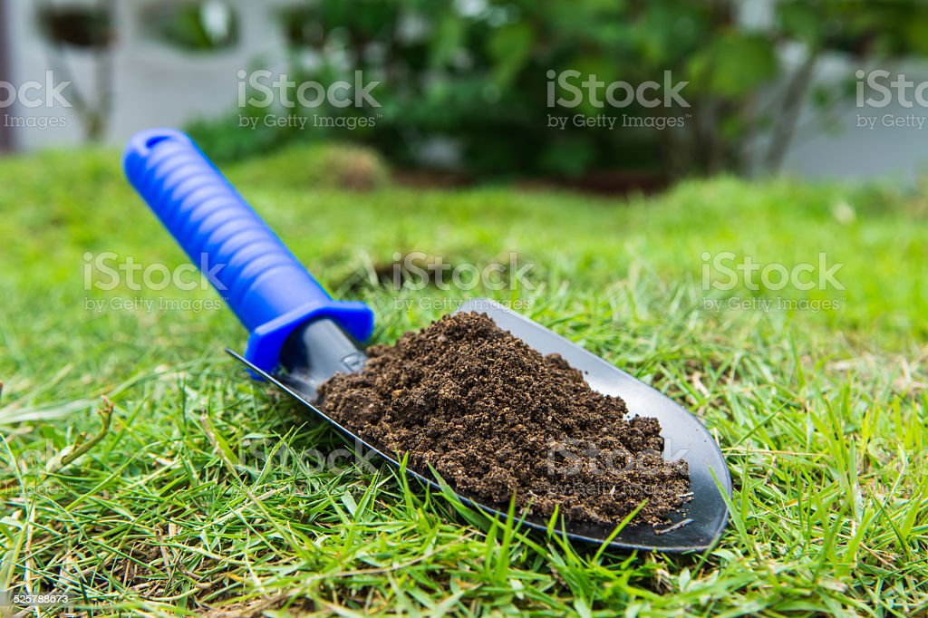 ground in the small shovel on the green grass stock photo