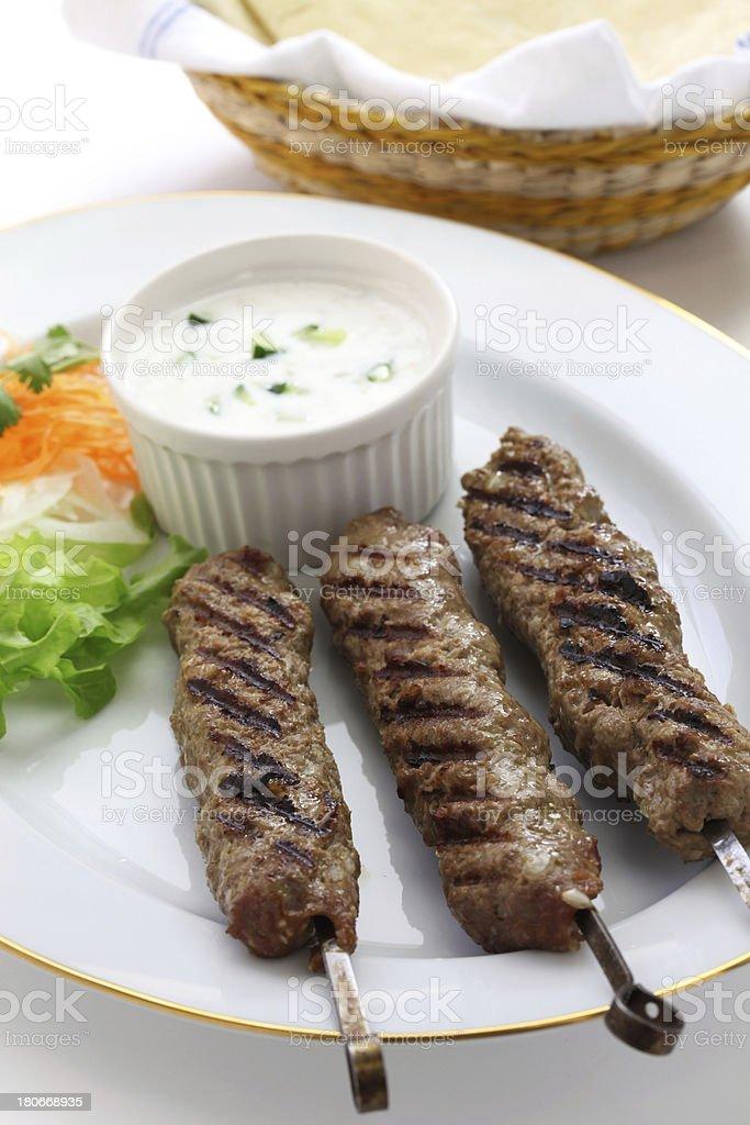 ground lamb kebab with flat bread royalty-free stock photo