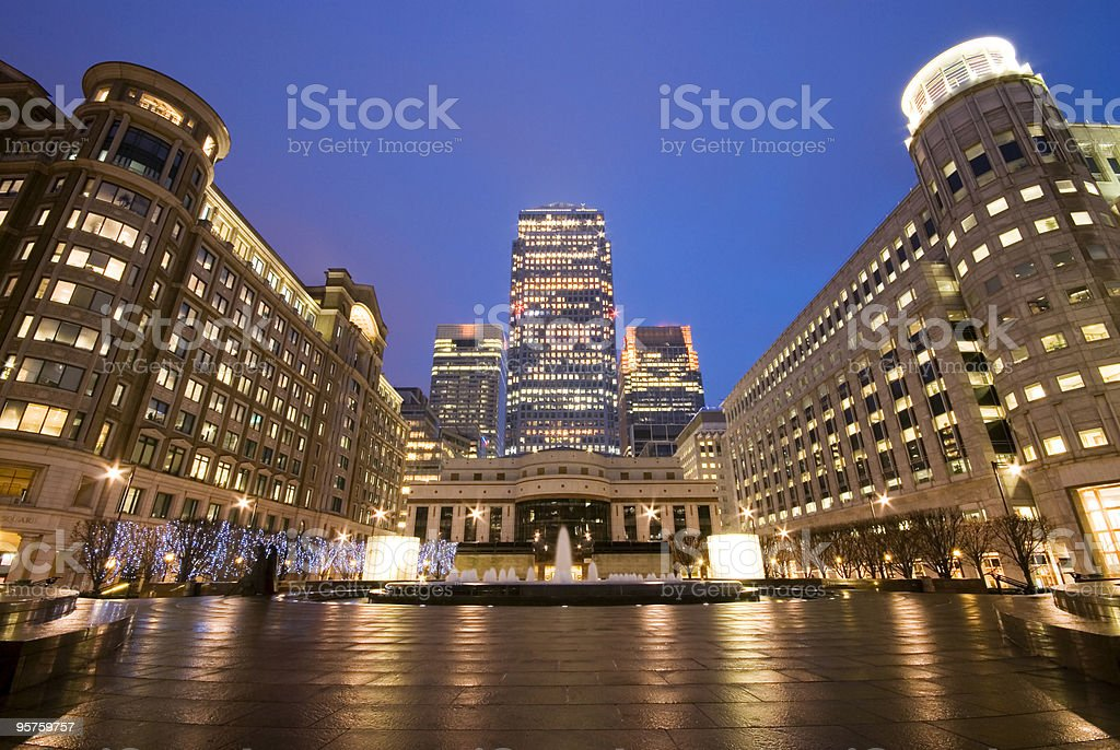 Ground level view of Cabot Square at Canary Wharf, London  royalty-free stock photo