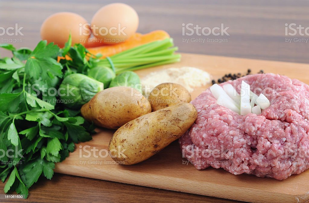 Ground Meat and Vegetables stock photo