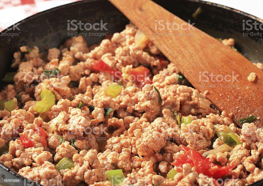 Ground meat stir fry stock photo
