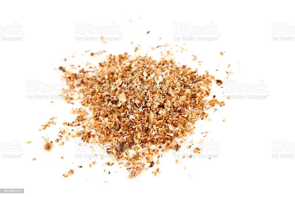 ground nutmeg isolated on white stock photo