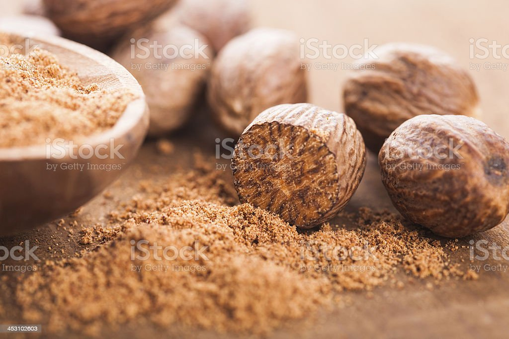 Ground nutmeg stock photo