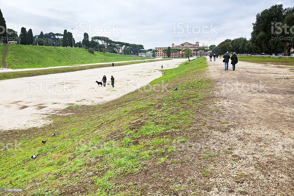 ground of ancient Circus Maximus in Rome stock photo