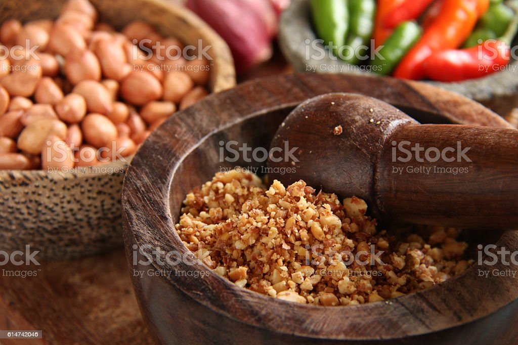 Ground Peanut Mixture for Kupat Tahu Magelang stock photo
