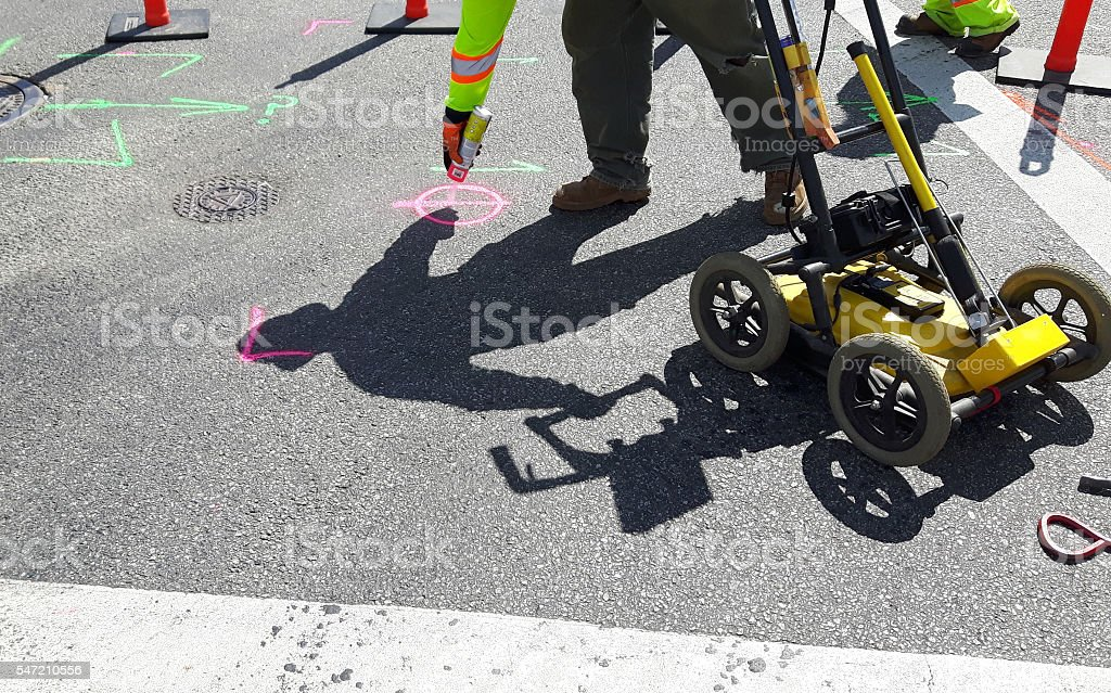 Ground penetrating Radar Utility Locates stock photo