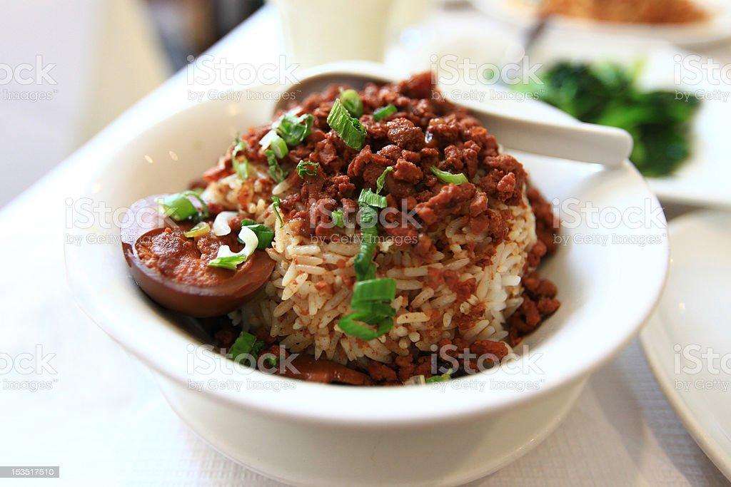 Ground Pork Rice Bowl royalty-free stock photo