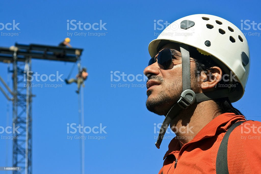 Ground Rigger at the stage stock photo