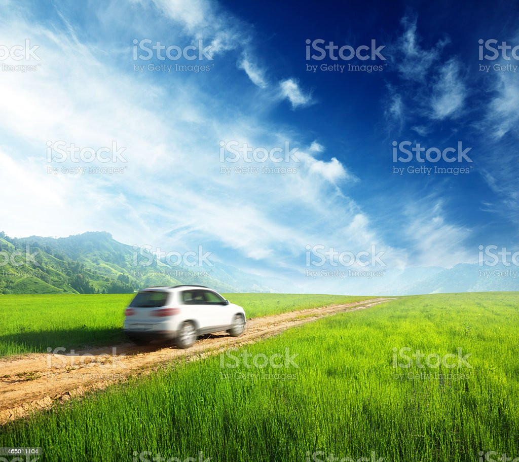 ground road and blurred car stock photo