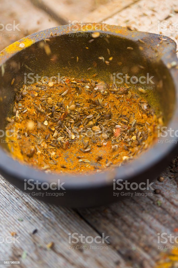 Ground Spices in Mortar stock photo