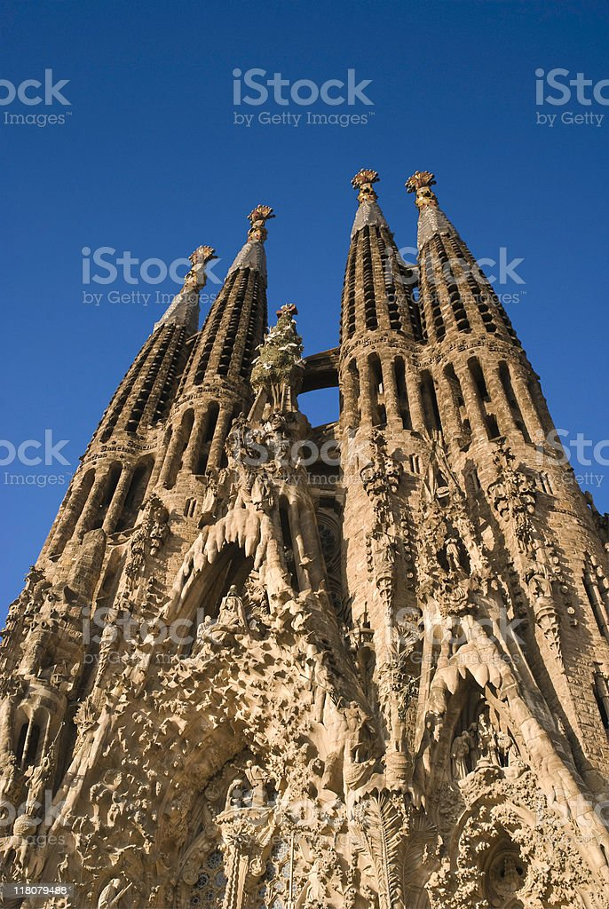 Ground up shot of Sagrada Familia in Barcelona royalty-free stock photo