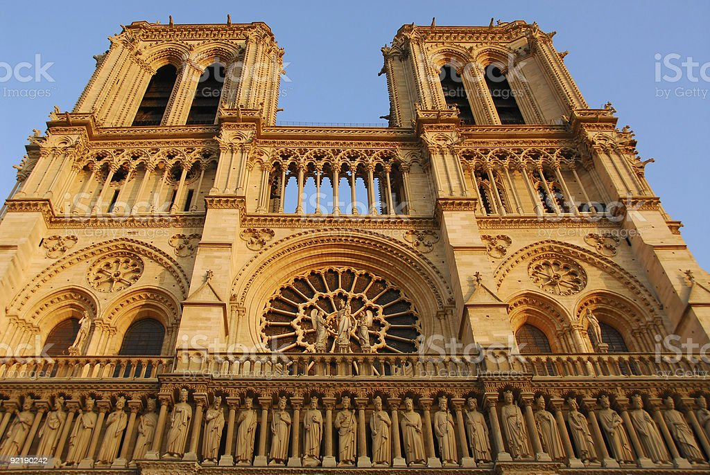 Ground up view of the Notre Dame de Paris stock photo
