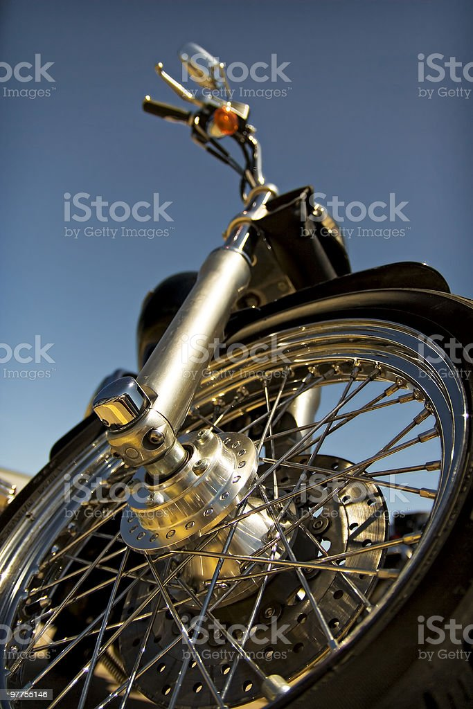 Ground view of a motorcycle royalty-free stock photo