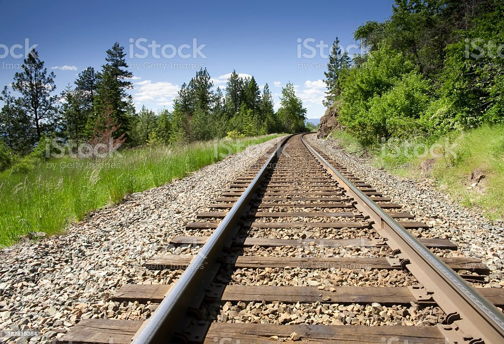 Ground view of a train track in the mountains with trees royalty-free stock photo