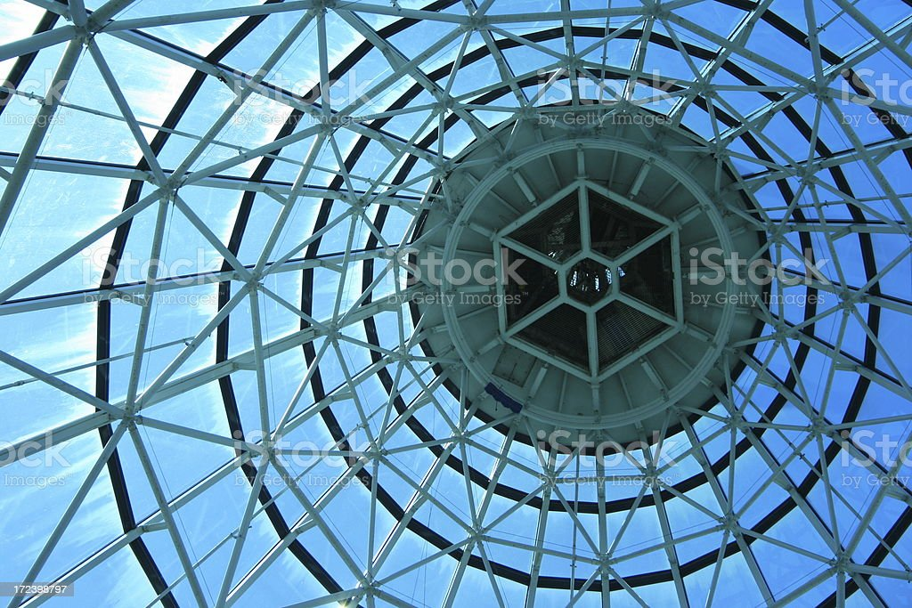 A ground view of abstract architecture with glass walls stock photo