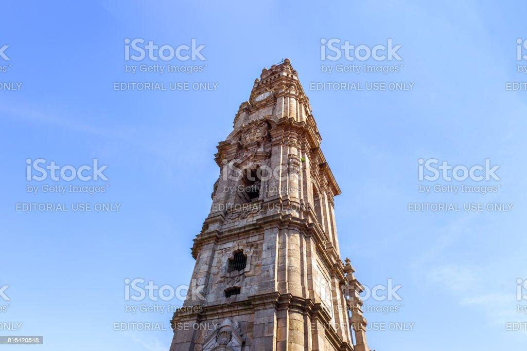 A ground view of Clérigos Tower. Porto, Portugal stock photo