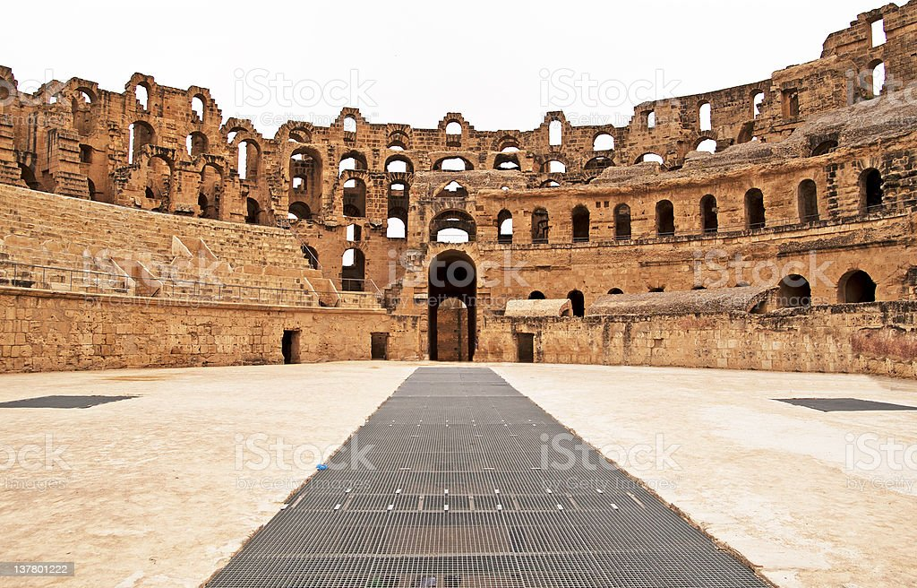 A ground view of the Amphitheater in El Jem in Tunisia stock photo