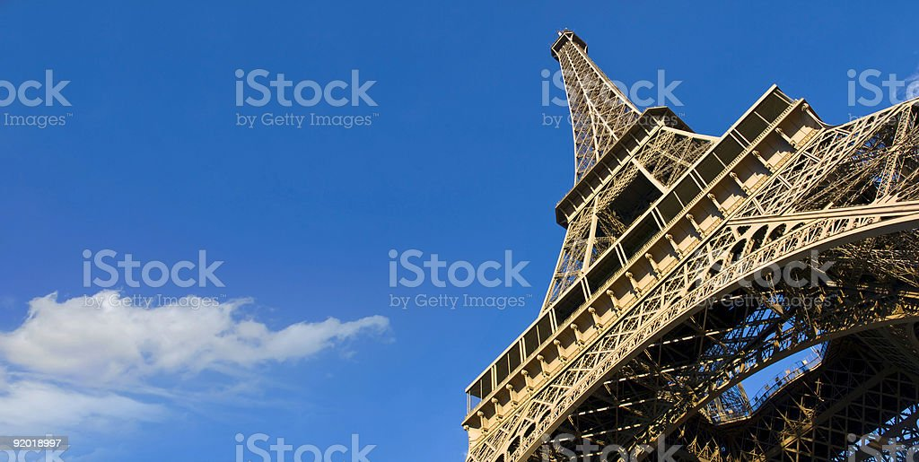 A ground view of the Eiffel Tower royalty-free stock photo