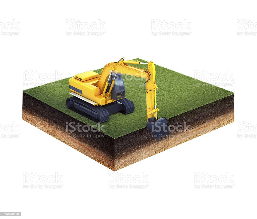 ground with grass and excavator stock photo