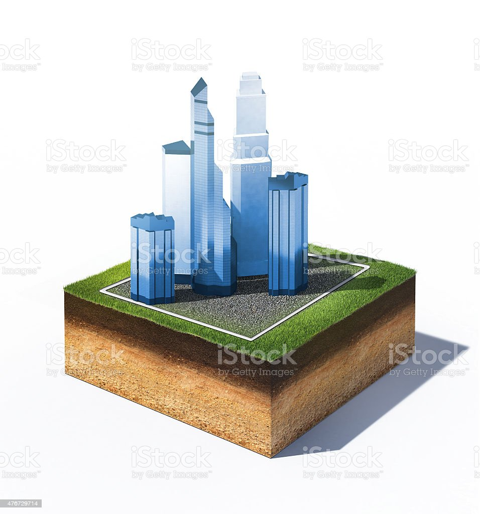 ground with group of skyscrapes stock photo