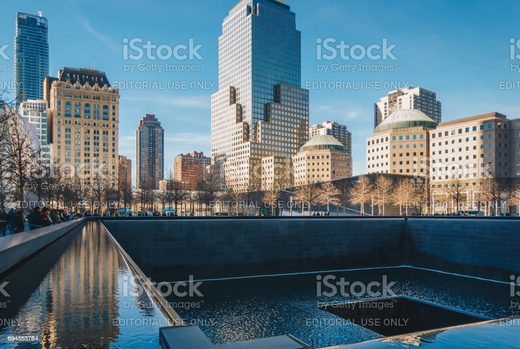 Ground Zero 9/11 Memorial geometric architecture and buildings. The Memorial honors people killed in the terror attacks of September 11, 2001 stock photo