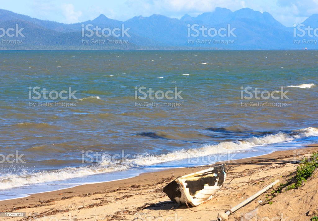 Grounded boat after a cyclone royalty-free stock photo
