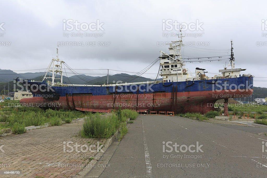 Grounded Fish Boat in Kesennuma, Japan stock photo