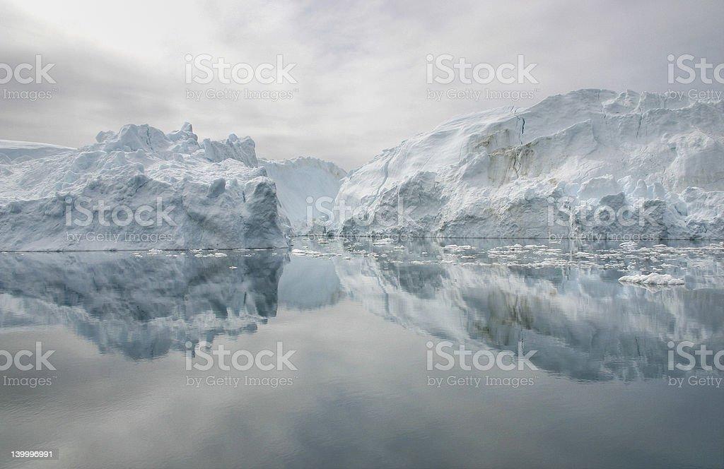 Grounded icebergs stock photo
