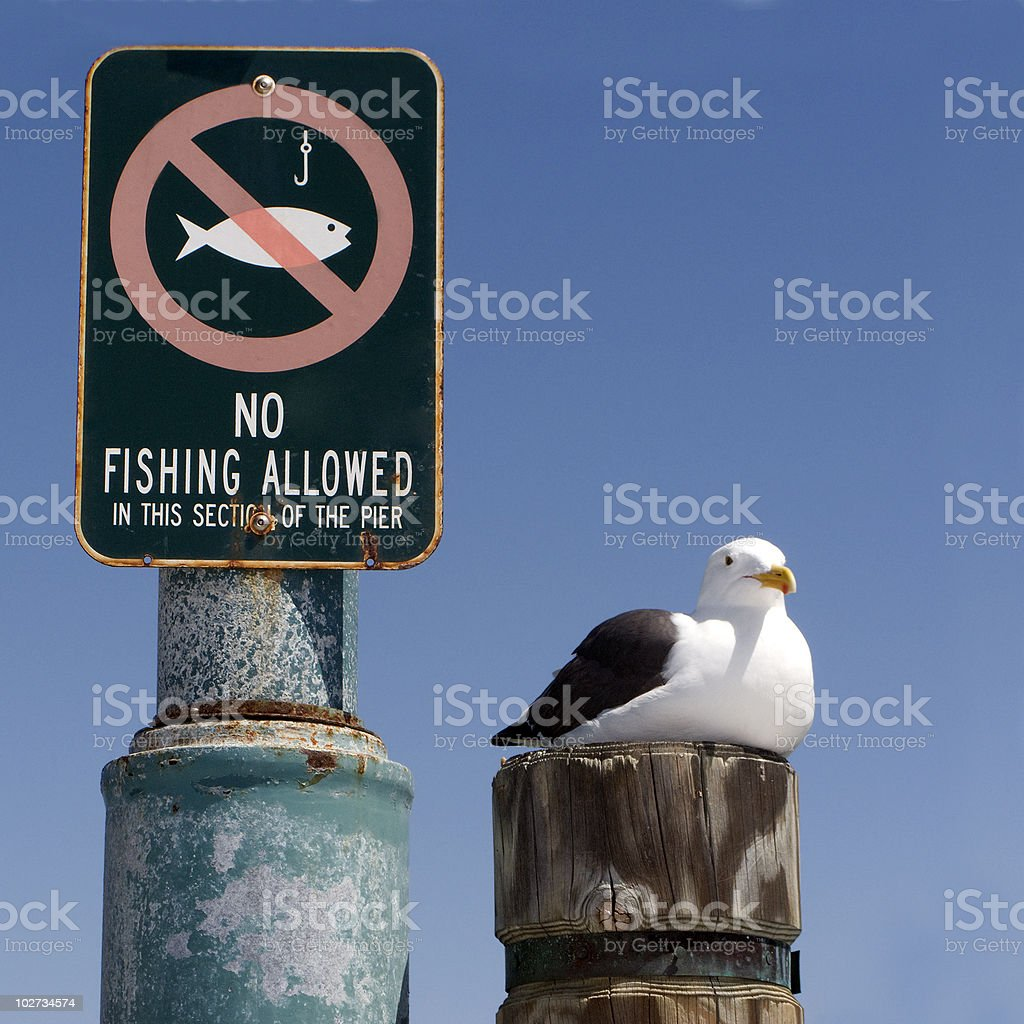 Grounded, No Fishing! stock photo