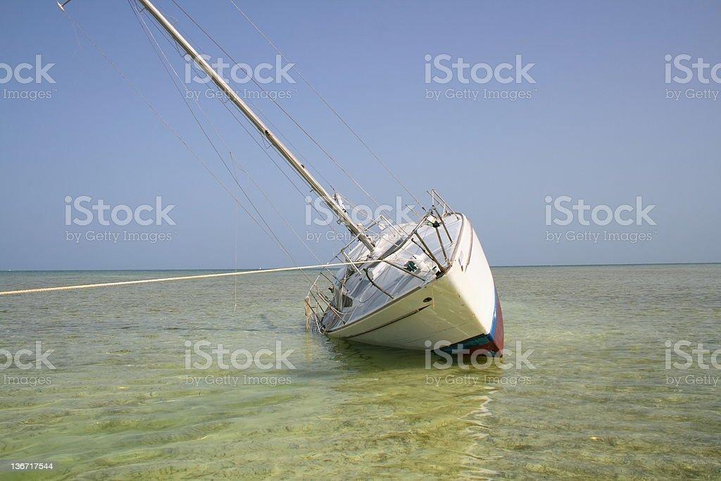 Grounded sailboat royalty-free stock photo