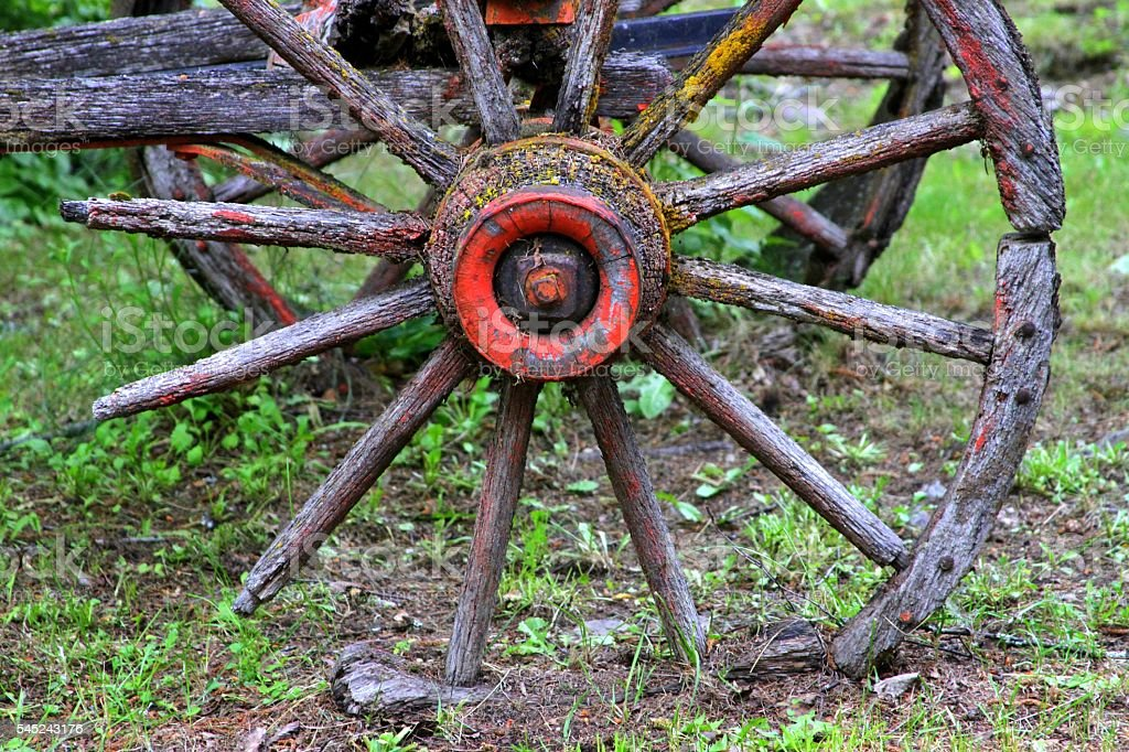 Grounded Wagon Wheel stock photo