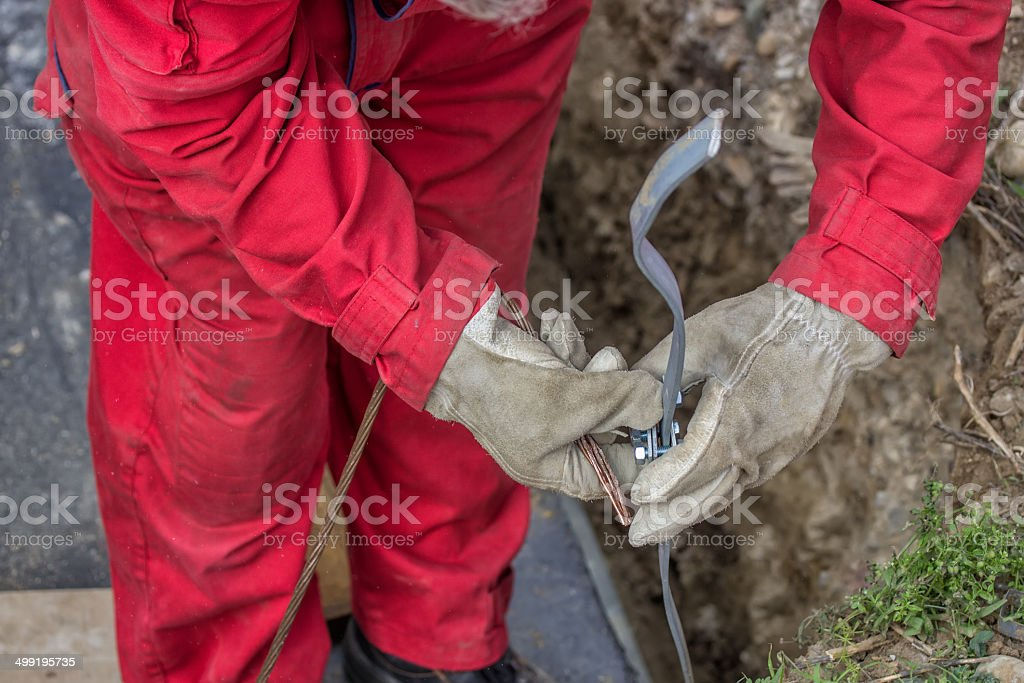Grounding for Building Foundation Structure stock photo