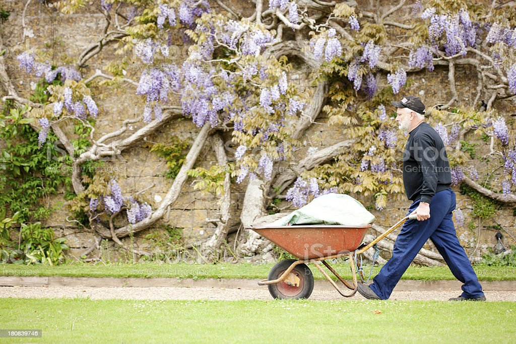 Groundsman collecting green waste stock photo