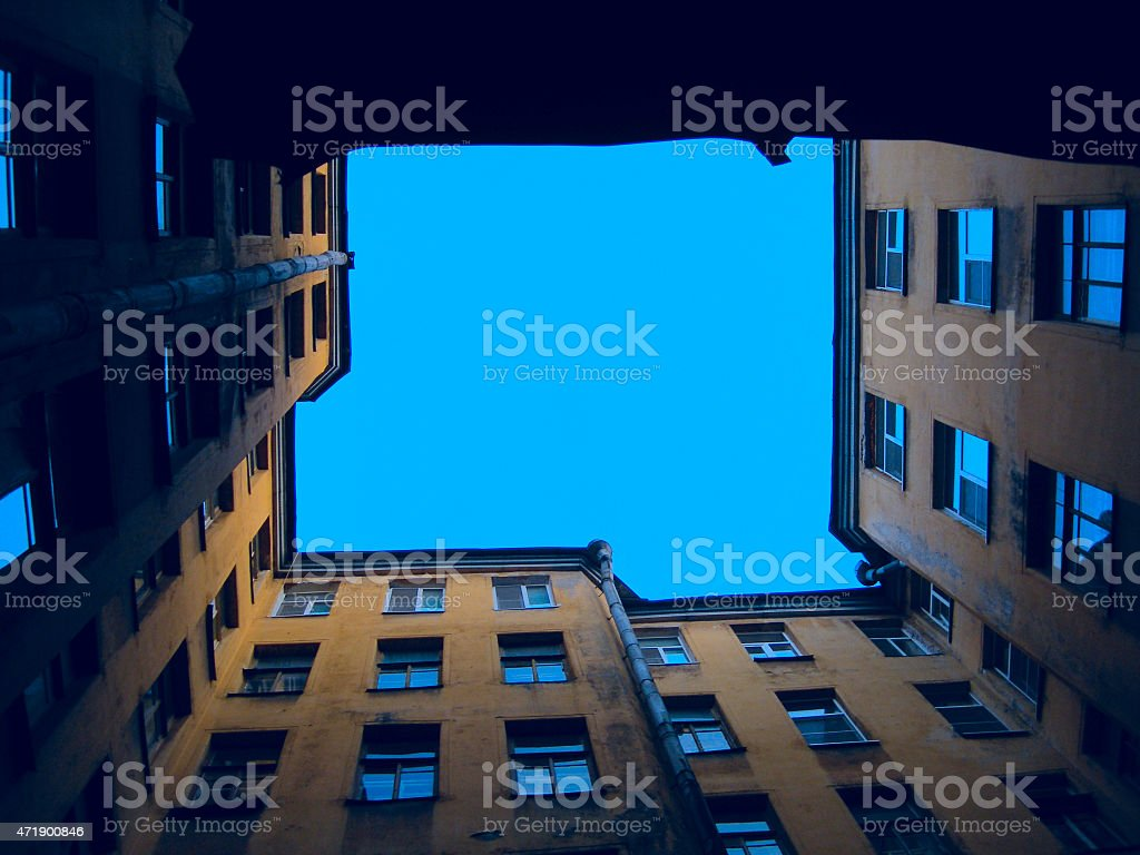 Ground-up view of a multi-story old home stock photo