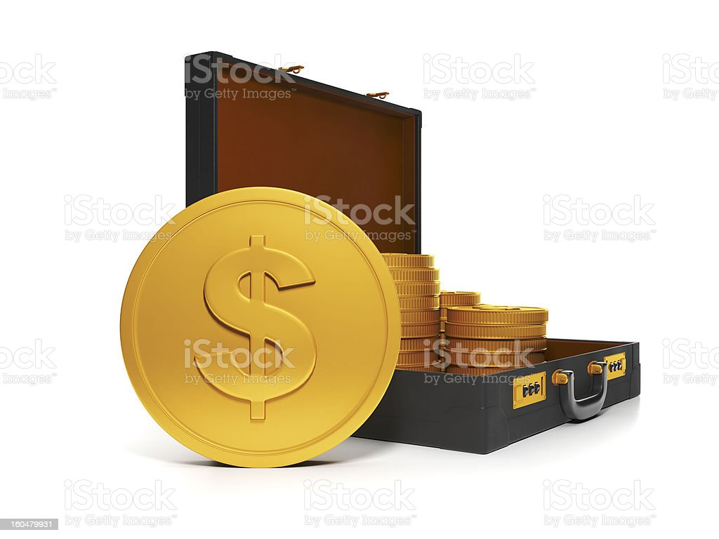 Group and a bag of gold coins royalty-free stock photo