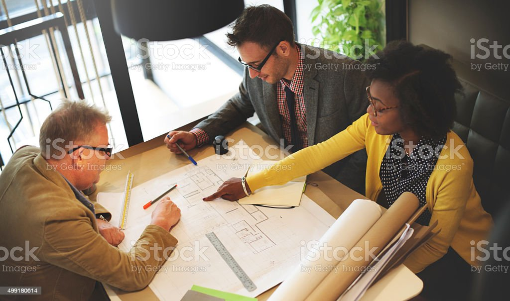Group Architect Meeting Planning Blueprint Concept stock photo
