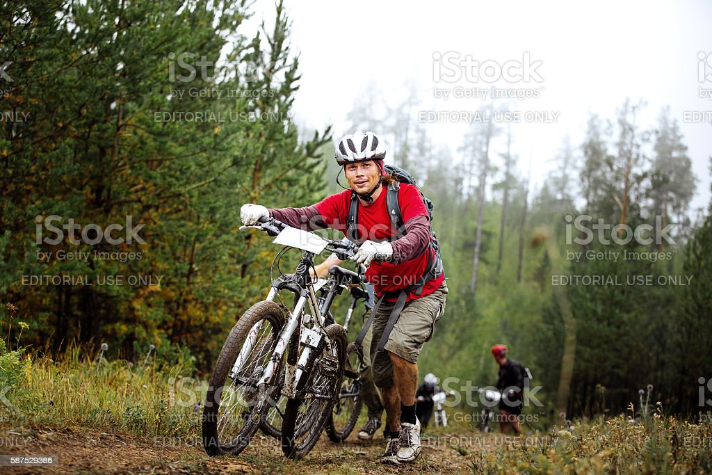 group athletes cyclists going uphill with your mountainbike royalty-free 스톡 사진