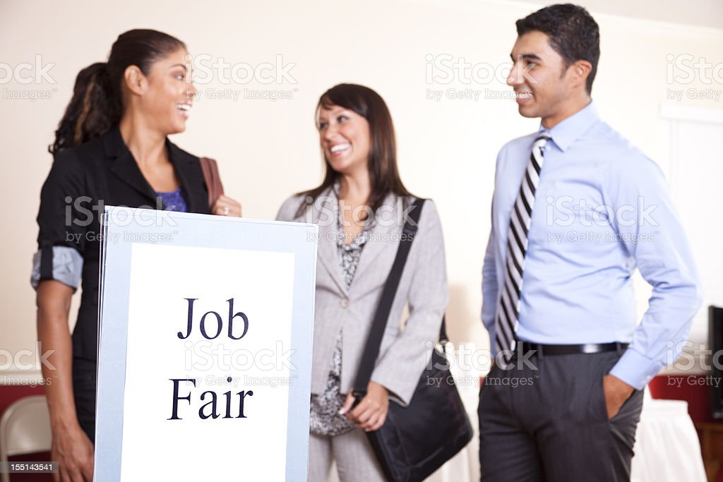 Group business people gathering for a job fair. Unemployment. royalty-free stock photo