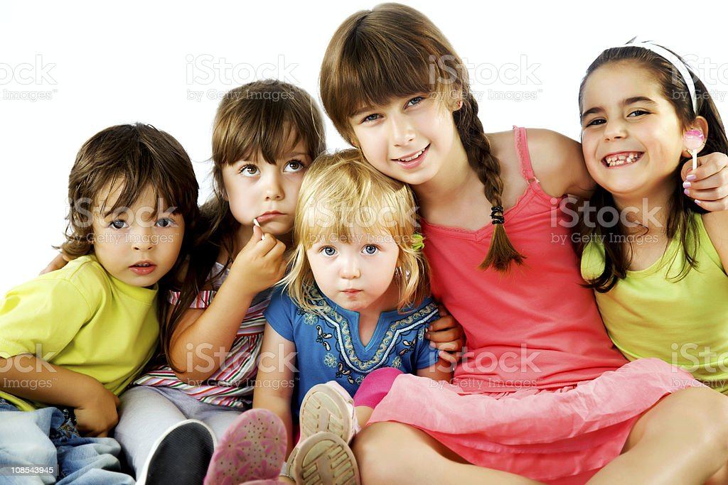 group children hugging royalty-free stock photo