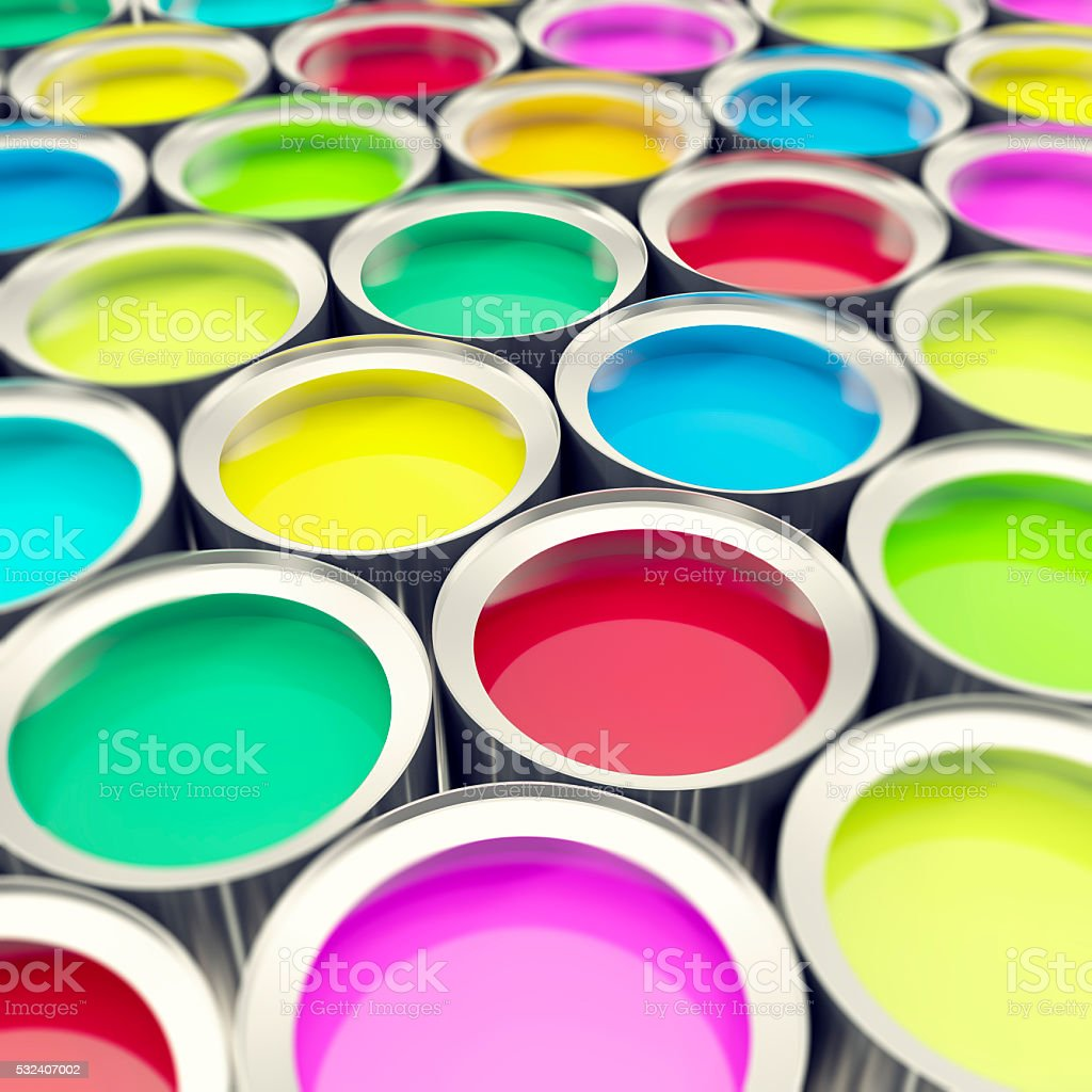 Group, collection tin metal cans with color paint dye. 3d stock photo