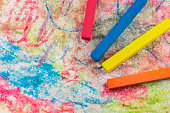 Group colorful chalk