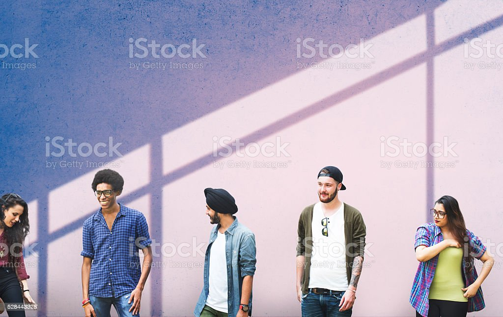 Group Diverse Students People Wall Concept stock photo