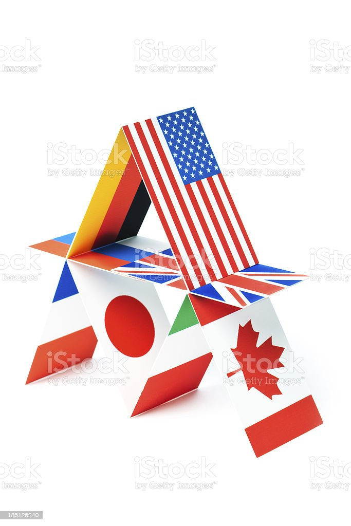 G8 Group Eight Nations Global Economic House of Cards royalty-free stock photo