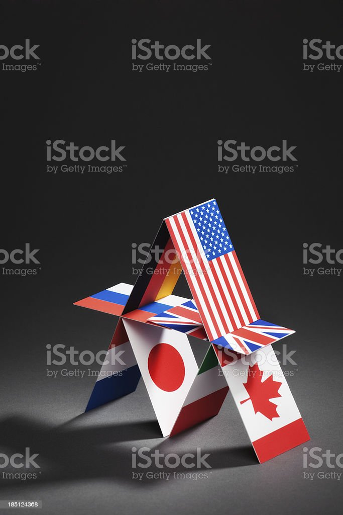 G8 Group Eight Nations Global Economic House of Cards Vt stock photo