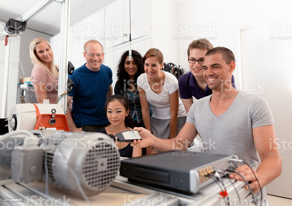 group engineering students stock photo
